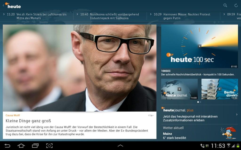 Startansicht der ZDFheute-Tabletapp