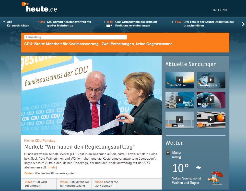 Erste Display-Ansicht heute.de