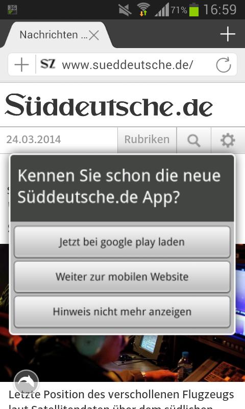Abfrage zur mobilen Webseite von sueddeutsche.de