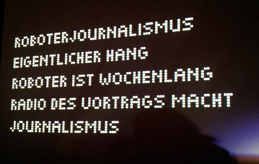 Re:publica 2014: Schlagworte zur Roboterjournalismus Session | Foto: Martin Krauß