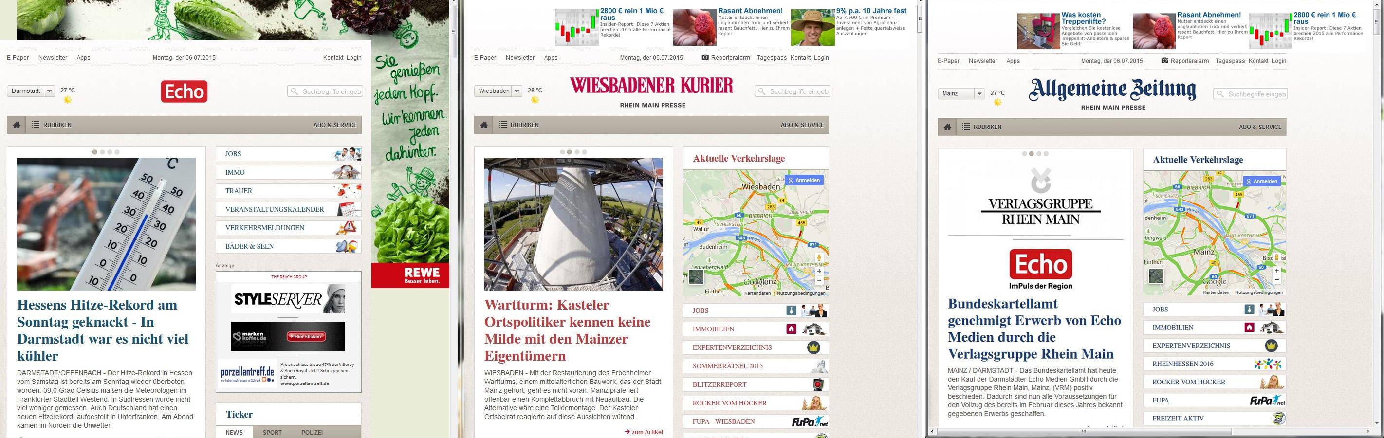 Drei Webseiten, ein Design (v.l.n.r.): Echo Online, Wiesbadener Kurrier, Allgemeine Zeitung