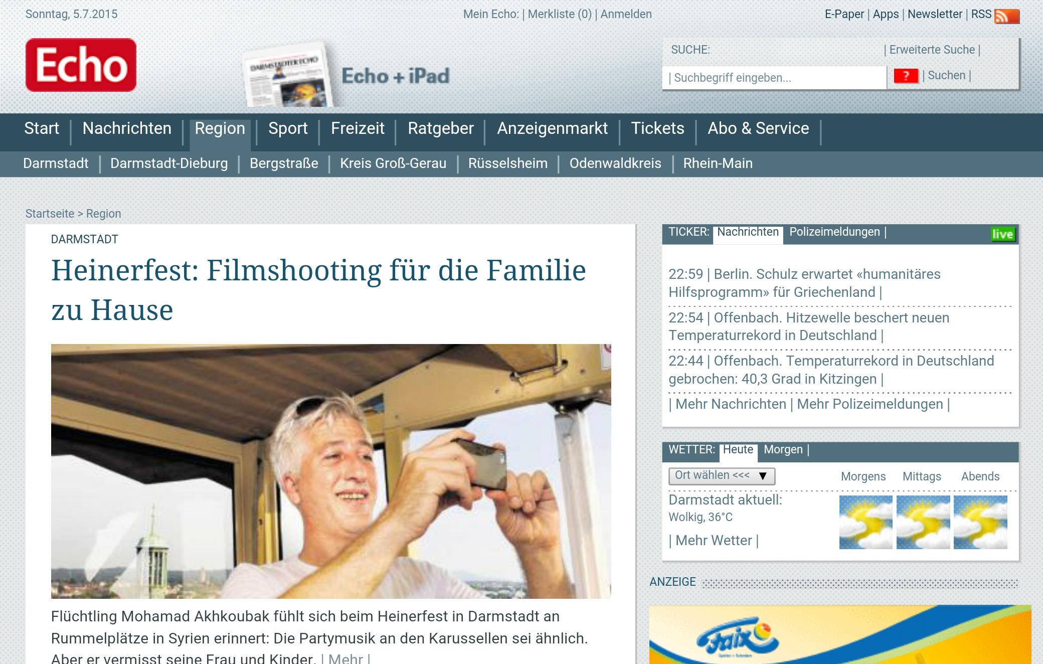 Das Design von Echo-Online.de aus dem Jahr 2009 (Screenshot)