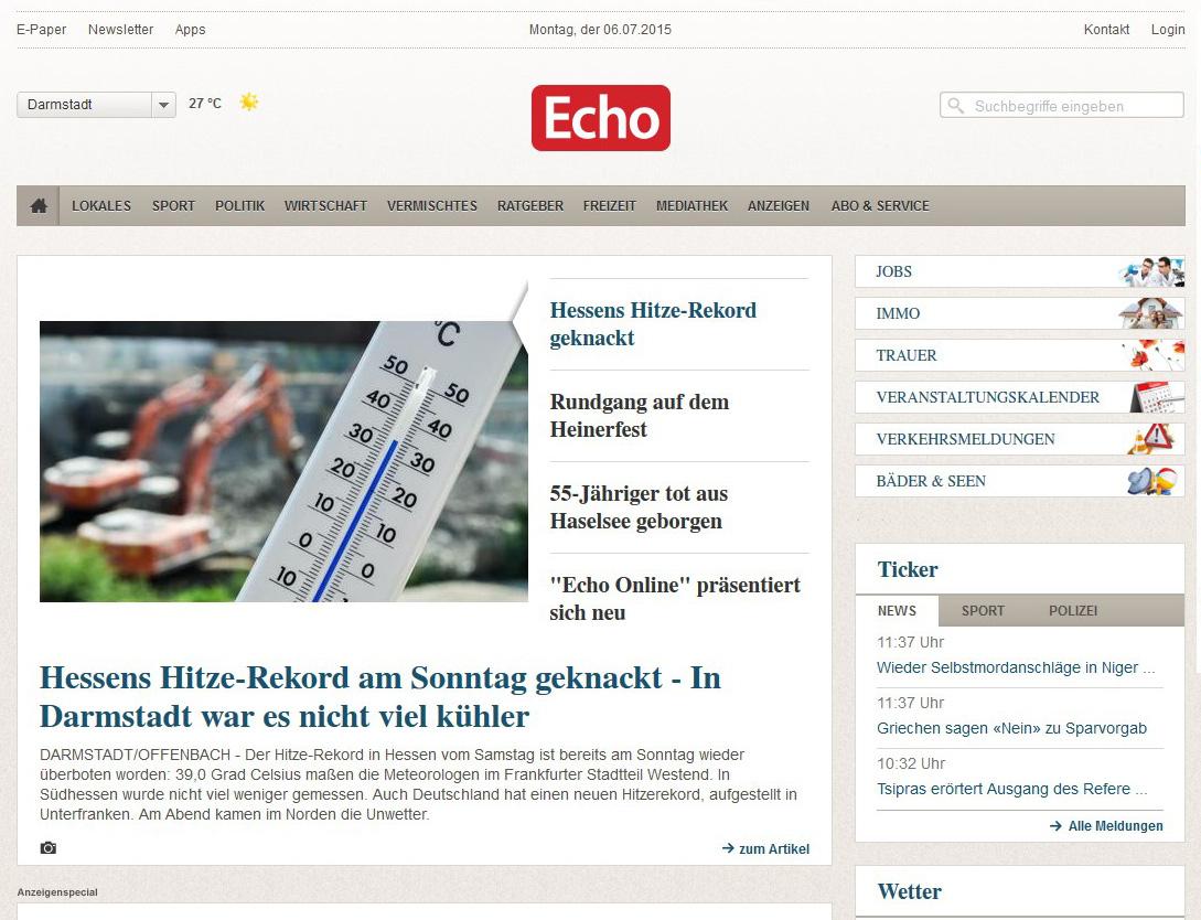 Das Design von Echo-Online.de aus dem Jahr 2015 (Screenshot)