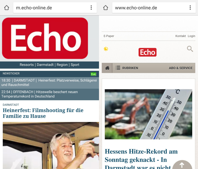 Mobile Ansicht: Eine gesonderte Seite (m.echo-online, 2009, l.) und die responsive Seite (echo-online, 2015, r.)